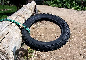 Horse Training guide images - tire on rail