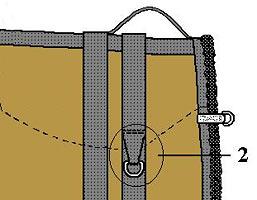 close-up drawing of D ring on Little Joe Horse Gear bareback saddle