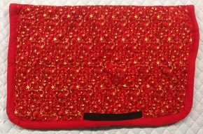Little Joe Horse Gear STANDARD Gold Stars on Red Background with Red Fleece pre-made saddle blanket